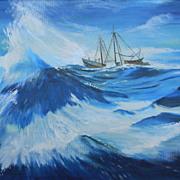 "SALE Nic Glowacky .  30"" x 24"" Oil Painting Seascape Ship at Sea. FREE USA SHIPPING!"