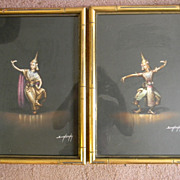 Boonsong . Pair of Pastel Paintings / Drawings signed