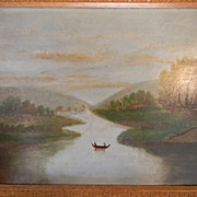 Hudson River Oil Painting on Academy Board
