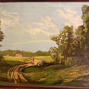 "Brown . Oil Painting Landscape . 27"" x 19"" framed"