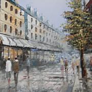 SOLD Henri Rogers . listed artist .  Impressionistic Oil Painting. Paris Street Scene