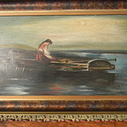 Vintage Oil Painting . Lady in Row Boat.