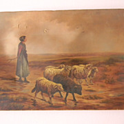 Antique Oil Painting . Girl with Sheep