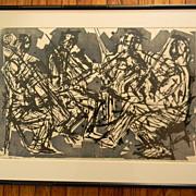 Eugene D. Larkin (1921 - 2010) . Listed artist . Woodcut Print . Quartet No 2