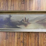"""SOLD Vintage Oil Painting Landscape Lake Scene . 45"""" long framed"""