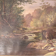 Williamson . 1904 . Antique Oil Painting on Canvas . Creek in The Woods