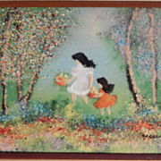 Cardin . Vintage Enamel on Copper Painting