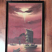 SALE Oil Painting - Red Sunset Small Fishing Boats. FREE USA SHIPPING!