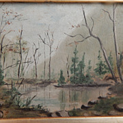 Vintage Landscape Small Oil Painting