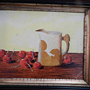 Still Life 80's Oil Painting in Antique Deep Walnut Frame . signed E Ledley