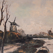 SALE Windmill Oil Painting - Nice Deep Walnut Frame . FREE USA SHIPPING!