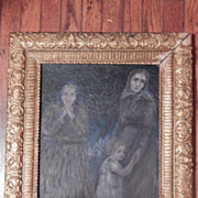 Oil painting - Captivating image of 3 Generations of Women / Children