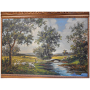 """B M Brown . Large 44 """" x 32 """" framed oil painting on canvas Landscape . signed"""
