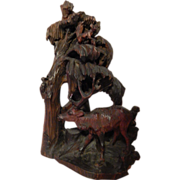 "Black Forest . 19 1/2"" Carved Wood Sculpture . Deer, Owl, Bird, Squirrel, more ."