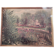 Impressionistic Oil Painting Landscape / Flower Garden / Cottage