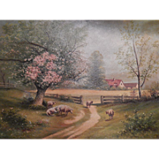Pastoral Scene with Sheep  Signed Oil Painting on Canvas.