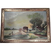 Vintage . Signed John Whites .  Large Oil Painting Country Scene