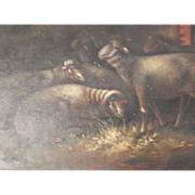 Antique Oil Painting of Sheep - Darkened with Age