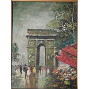 SALE Signed . Oil Painting . Impressionism . Paris Scene . FREE SHIPPING!