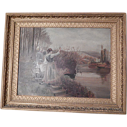 Antique Oil Painting - on Academy Board