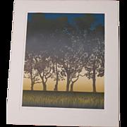 """Large artist signed WoodCut """"Sunset """""""