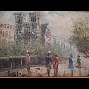 SALE Oil Painting - Impressionistic Paris Scene - signed Burnet. FREE USA SHIPPING!
