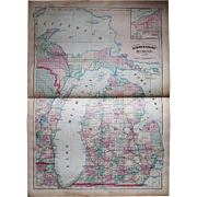 """Antique 1872 24"""" x 17 1/2"""" Map of Michigan"""