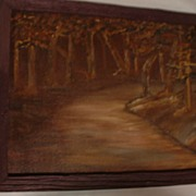 SALE Signed Oil on Board  .. Dark Forest Path Scene.