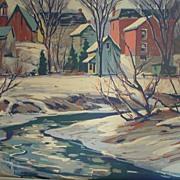 Framed Gouache Painting - Winter Creekside Town Scene