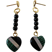 Petite Malachite, Black Onyx And Mother Of Pearl Inlay Heart Dangle Earrings
