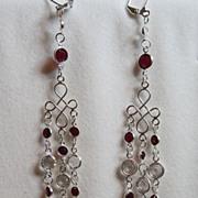 Elegant Swarovski Bright Red And Clear Crystal Sterling Silver Chandelier Shoulder Sweep Earri