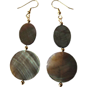Unique Black Lip Shell And Gold Dangle Earrings
