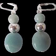 Pretty Aqua Color Amazonite And Silver Dangle Earrings