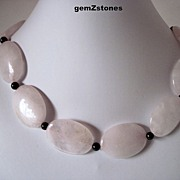 Natural Rose Color Quartz And Genuine Garnet Necklace