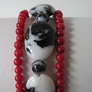 "Exotic Zebra ""Jasper"" And Red Coral Triple Strand Bracelet"
