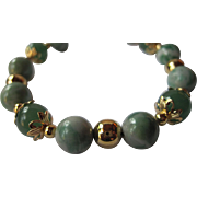 "Pretty Ching Hai ""Jade"" And Green Adventurine Single Strand Bracelet"
