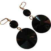 Faceted Black Celestial Crystal And Black Agate Dangle Earrings