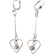 Dainty White Lotus Pearl And Sterling Silver Dangle Earrings