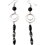 Unique Striped Agate And Silver Long Dangle Earrings