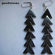 Beautiful Gun Metal Grey Hemalyke Long Dangle Earrings