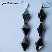 Unique Gun Metal Grey Hemalyke Long Dangle Earrings