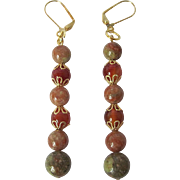 Beautiful Red Carnelian And Autumn Jasper Dangle Earrings
