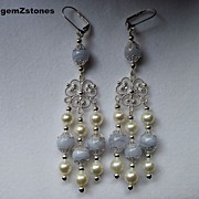 White Lotus Pearl And Blue Lace Agate Long Dangle Earrings