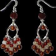 Sterling Silver, Citrine, Carnelian And Baltic Amber LOng Dangle Earrings