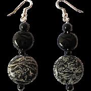 Unique Fireworks Jasper And Black Onyx Dangle Earrings