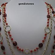 Vibrant Reddish Orange Carnelian Triple Strand Necklace