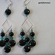 Beautiful Long Rainbow Obsidian And Turquoise Blue Swarovski Crystal Dangle Earrings