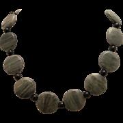 Natural Green Line Jasper And Golden Sheen Obsidian Single Strand Necklace