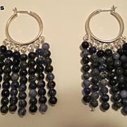 Blue Jean Baby Sodalite Dangle Hoop Earrings