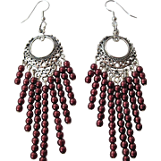 Beautiful Dyed Black Cherry Freshwater Pearl Long Dangle Earrings